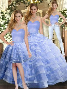 Lavender Lace Up Sweetheart Ruffled Layers Quinceanera Dress Organza Sleeveless