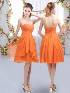 Knee Length Empire Sleeveless Orange Quinceanera Court of Honor Dress Lace Up