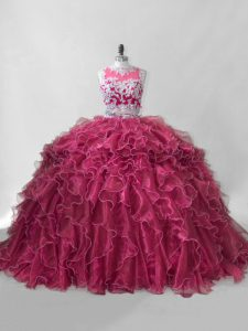 Wine Red Two Pieces Scoop Sleeveless Organza Brush Train Zipper Beading and Ruffles Vestidos de Quinceanera