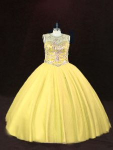 Attractive Gold Tulle Lace Up Scoop Sleeveless Floor Length Sweet 16 Dress Beading