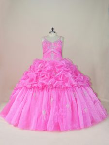 Straps Sleeveless Organza and Taffeta Quinceanera Gown Beading and Appliques and Pick Ups Brush Train Lace Up