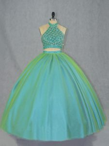 Lace Up Sweet 16 Dress Green for Sweet 16 and Quinceanera with Beading