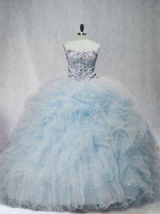 Fitting Light Blue Ball Gowns Sweetheart Sleeveless Tulle Brush Train Lace Up Beading and Ruffles 15th Birthday Dress