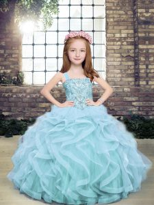 Straps Sleeveless Little Girls Pageant Dress Wholesale Floor Length Beading and Ruffles Light Blue Tulle