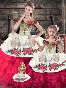 Affordable Pink And White Ball Gowns Embroidery and Ruffles Sweet 16 Quinceanera Dress Lace Up Organza Sleeveless Floor Length