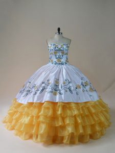 Charming Yellow And White Lace Up Vestidos de Quinceanera Embroidery and Ruffled Layers Sleeveless Floor Length