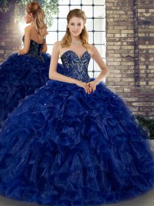 Dramatic Royal Blue Ball Gowns Organza Sweetheart Sleeveless Beading and Ruffles Floor Length Lace Up Quinceanera Gown