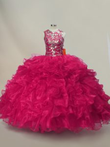 High Quality Hot Pink Lace Up Quinceanera Gown Ruffles and Sequins Sleeveless Floor Length
