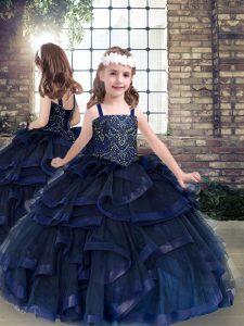 Floor Length Navy Blue Kids Pageant Dress Tulle Sleeveless Beading and Ruffles