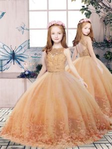 Gold Tulle Backless Little Girls Pageant Dress Sleeveless Floor Length Lace and Appliques
