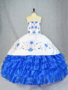 Blue And White Lace Up Sweetheart Embroidery and Ruffled Layers Quinceanera Gowns Organza Sleeveless