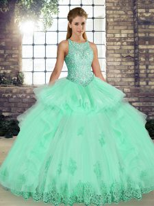 Fancy Floor Length Ball Gowns Sleeveless Apple Green 15 Quinceanera Dress Lace Up