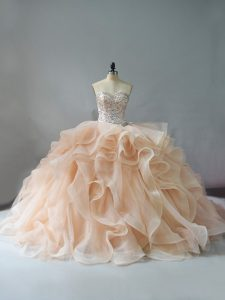 Fabulous Sleeveless Brush Train Lace Up Beading and Ruffles Sweet 16 Quinceanera Dress