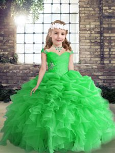 Shining Floor Length Lace Up Glitz Pageant Dress Green for Party and Wedding Party with Beading and Ruffles
