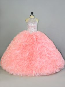 Attractive Organza Halter Top Sleeveless Lace Up Beading and Ruffles Sweet 16 Dress in Peach