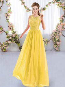 Chiffon Sleeveless Floor Length Dama Dress and Lace