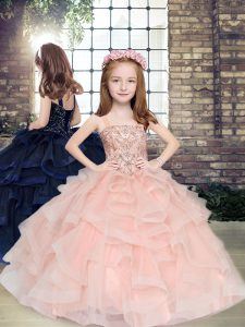 Romantic Straps Sleeveless Lace Up Child Pageant Dress Peach Tulle