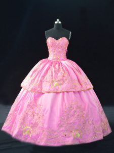 Fancy Sleeveless Satin Floor Length Lace Up Sweet 16 Quinceanera Dress in Rose Pink with Embroidery