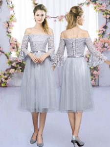3 4 Length Sleeve Tulle Tea Length Lace Up Quinceanera Court Dresses in Grey with Lace and Belt