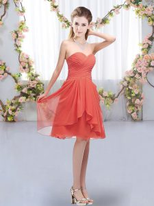 Gorgeous Coral Red Chiffon Lace Up Quinceanera Court Dresses Sleeveless Knee Length Ruffles and Ruching