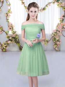 New Arrival Green Empire Off The Shoulder Short Sleeves Tulle Knee Length Lace Up Belt Court Dresses for Sweet 16
