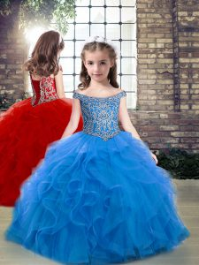 Off The Shoulder Sleeveless Tulle Kids Pageant Dress Beading and Ruffles Lace Up
