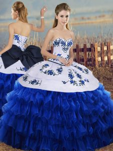 Charming Royal Blue Ball Gowns Organza Sweetheart Sleeveless Embroidery and Ruffled Layers and Bowknot Floor Length Lace Up Quinceanera Dresses