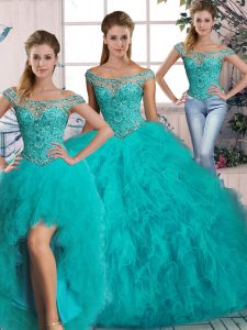 Fitting Aqua Blue Tulle Lace Up Quinceanera Gowns Sleeveless Brush Train Beading and Ruffles