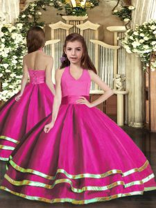 Classical Organza Sleeveless Floor Length Little Girl Pageant Gowns and Ruffled Layers