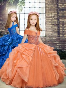Affordable Floor Length Ball Gowns Sleeveless Orange Little Girl Pageant Dress Lace Up