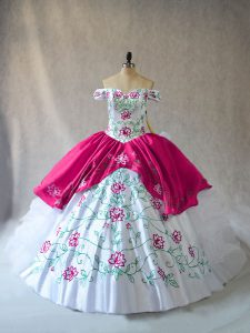 Graceful Pink And White Ball Gowns Off The Shoulder Sleeveless Organza Floor Length Lace Up Embroidery and Ruffles 15th Birthday Dress