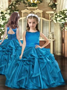 Organza Sleeveless Floor Length Pageant Dress for Girls and Ruffles