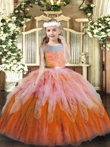 Multi-color Pageant Dress Sweet 16 and Wedding Party with Lace and Ruffles Scoop Sleeveless Lace Up