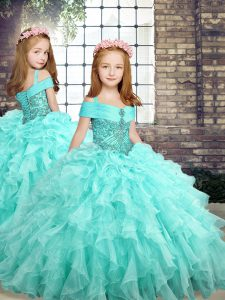 Straps Sleeveless Lace Up Little Girls Pageant Gowns Aqua Blue Organza
