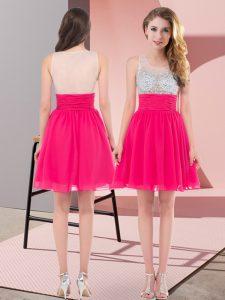 Artistic Hot Pink Empire Beading Dama Dress for Quinceanera Side Zipper Chiffon Sleeveless Mini Length