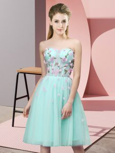 Stylish Apple Green Tulle Lace Up Dama Dress for Quinceanera Sleeveless Knee Length Appliques