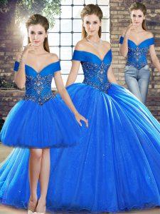 Sleeveless Beading Lace Up Sweet 16 Dress with Royal Blue Brush Train