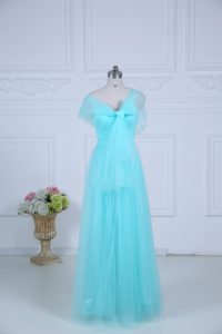 Sophisticated Floor Length Empire Sleeveless Aqua Blue Quinceanera Dama Dress Zipper