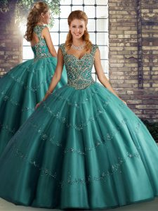 Ball Gowns Quinceanera Dresses Teal Straps Tulle Sleeveless Floor Length Lace Up