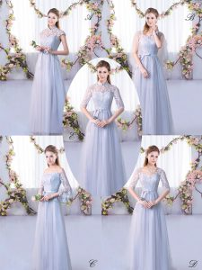 High-neck Cap Sleeves Quinceanera Dama Dress Floor Length Lace Grey Tulle