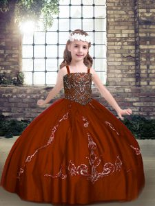 Floor Length Ball Gowns Sleeveless Rust Red Little Girl Pageant Gowns Lace Up