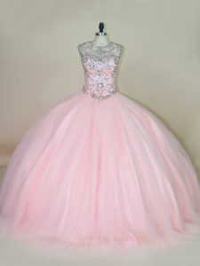 Sophisticated Baby Pink Ball Gowns Beading Sweet 16 Quinceanera Dress Lace Up Tulle Sleeveless