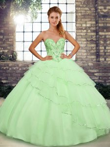 Tulle Sweetheart Sleeveless Brush Train Lace Up Beading and Ruffled Layers Vestidos de Quinceanera in Yellow Green
