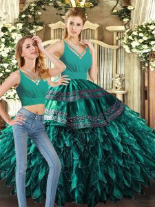 Floor Length Backless Sweet 16 Quinceanera Dress Turquoise for Sweet 16 and Quinceanera with Appliques and Ruffles