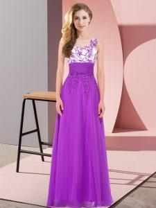 Empire Damas Dress Purple Scoop Chiffon Sleeveless Floor Length Backless
