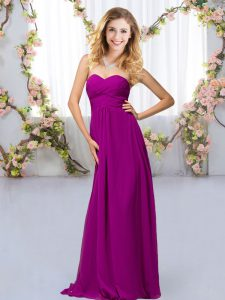 Purple Empire Chiffon Sweetheart Sleeveless Beading Floor Length Criss Cross Dama Dress for Quinceanera