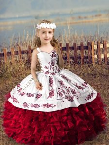 Wine Red Little Girls Pageant Dress Wedding Party with Embroidery and Ruffles Straps Sleeveless Lace Up