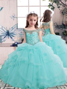 Amazing Aqua Blue Tulle Lace Up Pageant Gowns For Girls Sleeveless Floor Length Beading