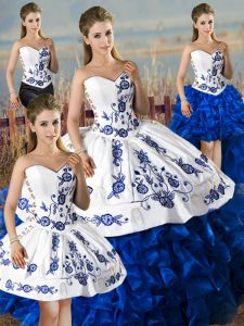 Shining Satin and Organza Sleeveless Floor Length Sweet 16 Quinceanera Dress and Embroidery and Ruffles