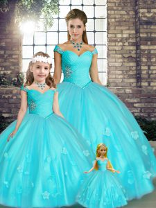 Aqua Blue Ball Gowns Tulle Off The Shoulder Sleeveless Beading and Appliques Floor Length Lace Up 15th Birthday Dress